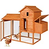 Best Choice Products 80in Outdoor Wooden Chicken Coop Multi-Level Hen House, Poultry Cage w/Ramps, Run, Nesting Box,...