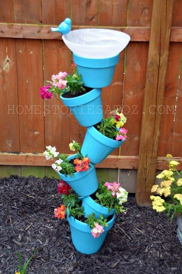 DIY Stacked Tower Pot Garden | Incredible Tower Garden Ideas For Homesteading In Limited Space