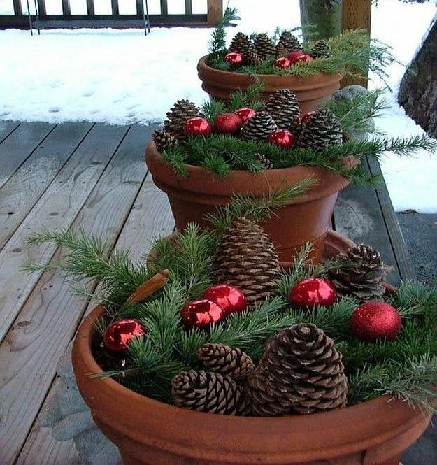 a potful of christmas for your porch breathtakingly rustic homemade christmas decorations - Homemade Christmas Decorations Ideas