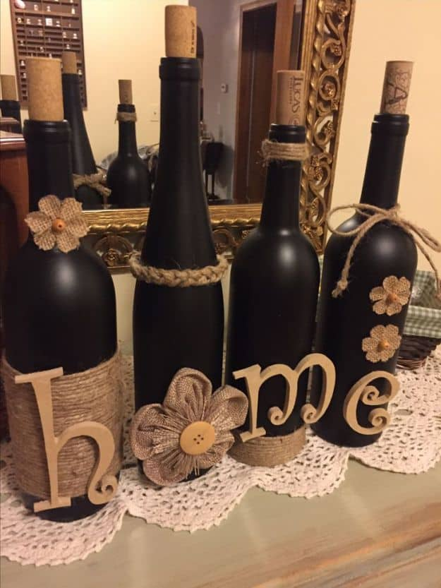 Rustic Decorations From Recycled Wine Bottles | Breathtakingly Rustic Homemade Christmas Decorations
