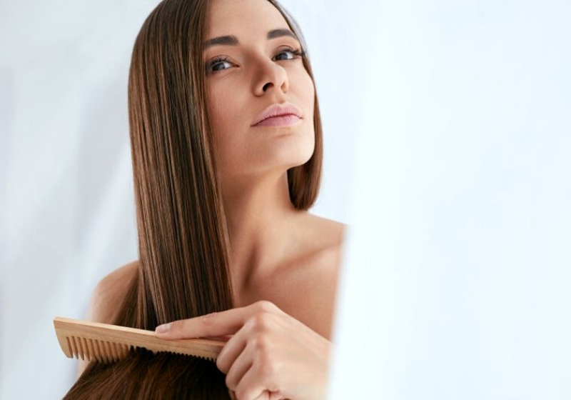 beauty hair care beautiful woman combing   glycerin for hair