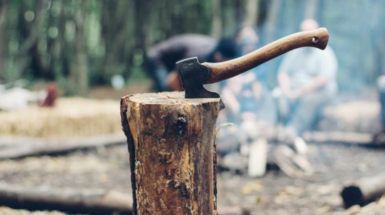 axe on tree log | Off The Grid Hacks | Homesteading Tips, Tricks, And Ideas | Off the grid hacks | living off the grid diy projects | Featured