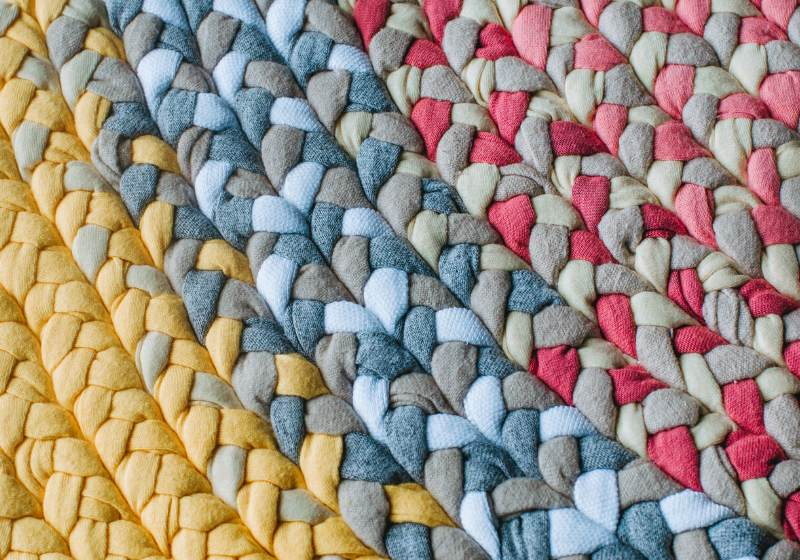 closeup colorful handmade rug variety different | how to make a braided rag rug
