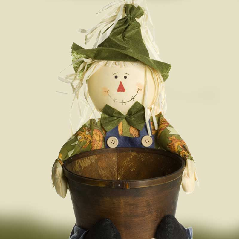 Stuffed handmade scarecrow doll planter | how to make a scarecrow