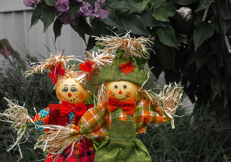 Two happy scarecrows guarding a flower bed in the country on an autumn evening | outdoor garden scarecrow