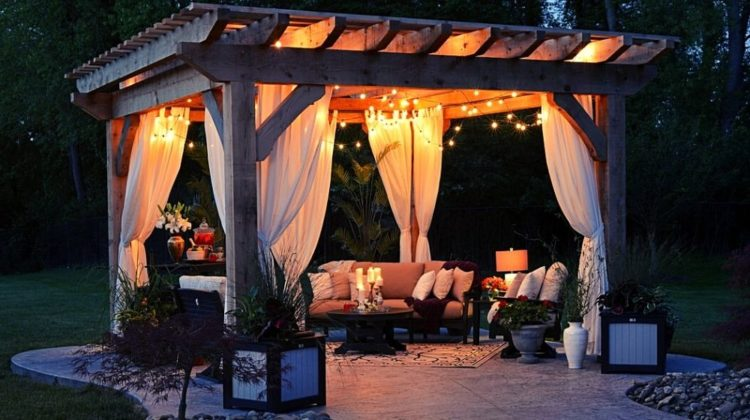 photo of gazebo with curtain and string lights | Beautiful Modern Pergola Designs For Your Homestead | Featured